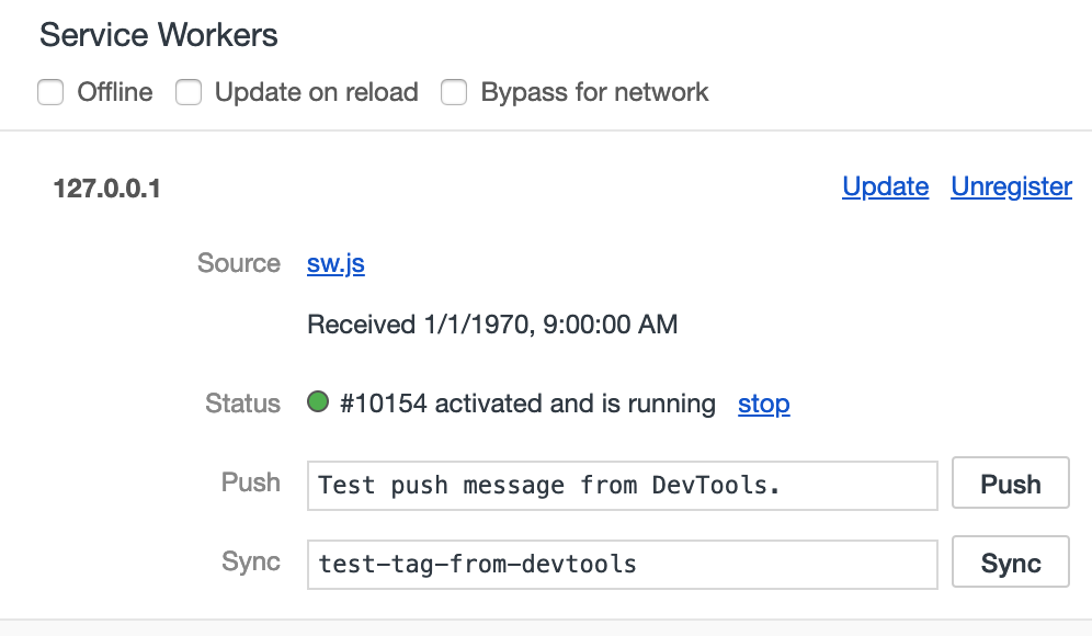 Service Worker Status in the Chrome Dev Tools